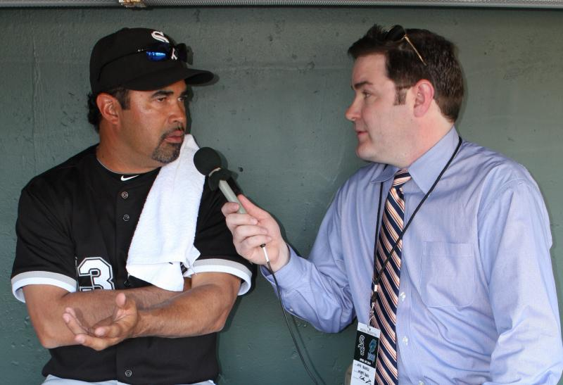Mike interviewing CWS Manager Ozzie Guillen